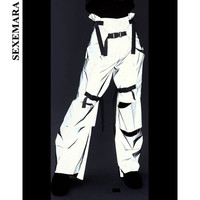 SEXEMARA Hole Buckle Reflective Pants Streetwear High Waist Cargo Pants Women Wide Leg Pants Casual Trousers Bottoms C80 BA09