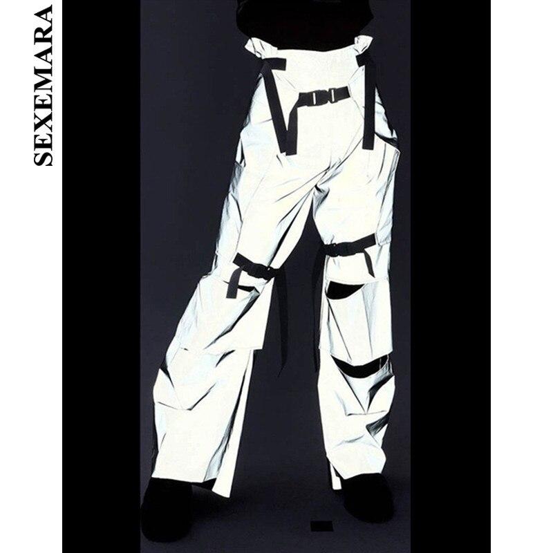 SEXEMARA Hole Buckle Reflective   Pants   Streetwear High Waist Cargo   Pants   Women   Wide     Leg     Pants   Casual Trousers Bottoms C80-BA09