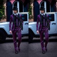 2017 el nuevo mens italiano Trajes púrpura chaqueta con cuello negro boda Esmoquin últimas escudo Pant diseños hombres Trajes traje homme
