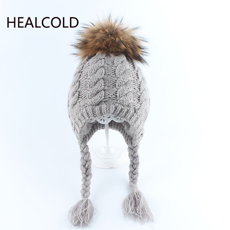 Babay Winter Hat Real Raccoon Fur Pompom Beanie Hats For kids Boys And Girls Warm Ear Protection Caps 2019(China)
