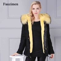 Fauzimen korean jacket Yellow Real Fox Large Fur Collar Park High quality faux fur lined with warm winter jackets parka