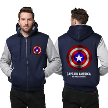 Winter Thicken Unisex Hoodie Captain America Shield Logo Men font b Women b font Cosplay Zipper
