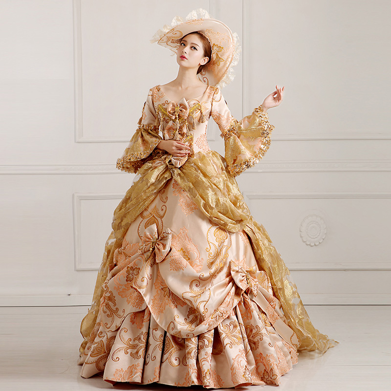 0af62cbcfe champagne floral embroidery ball gown with hat bow dress royal medieval  dress princess Renaissance Gown queen Victorian dress on Aliexpress.com
