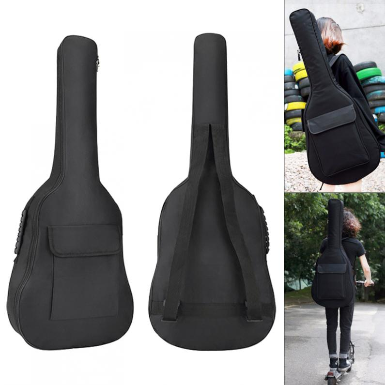 41 Inch Cotton Oxford Padded Notes Folk Acoustic Guitar Gig Bag with Guitar Strap and Pick Sampler Double Straps Backpack 39//40 Guitar Double Straps Bag