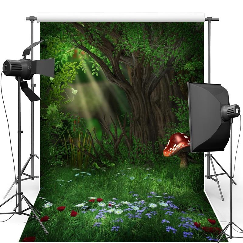 New Fabric Flannel Backdrop Alice in Wonderland Mushroom Forest Vinyl Photography Background For Children studio Props F1629 vinyl wonderland photography backdrop