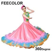 FEECOLOR Pakaian Flamenco Sepanyol Wanita Karneval Dance Costume Wanita Pembukaan Peringkat schow Performance Skirt dengan Big Swing
