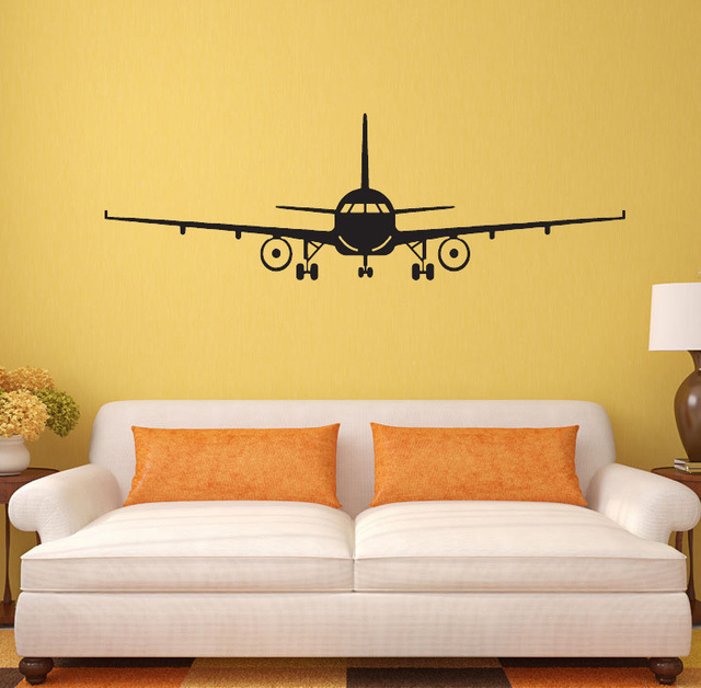 Personality Black Plane Decorative Vinyl Wall Stickers For Boy ...