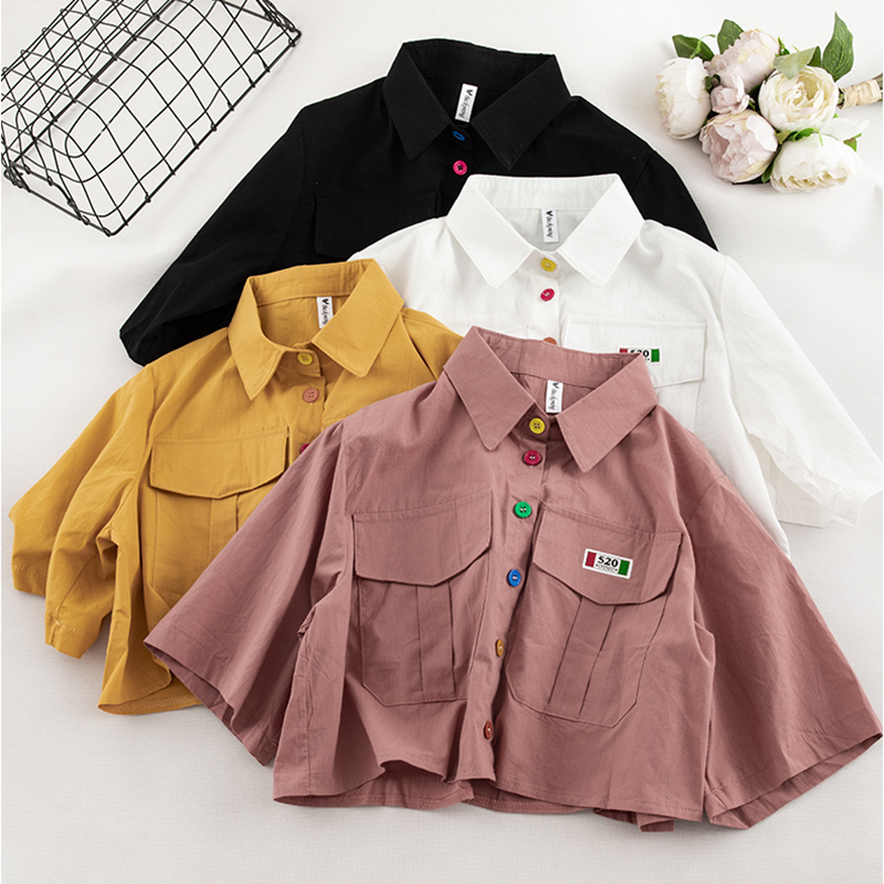Kawaii Women Shirt Summer Solid Short Sleeve Button Blouses Harajuku Female Short Style Loose Tops Chic Turn-down Collar Blouses