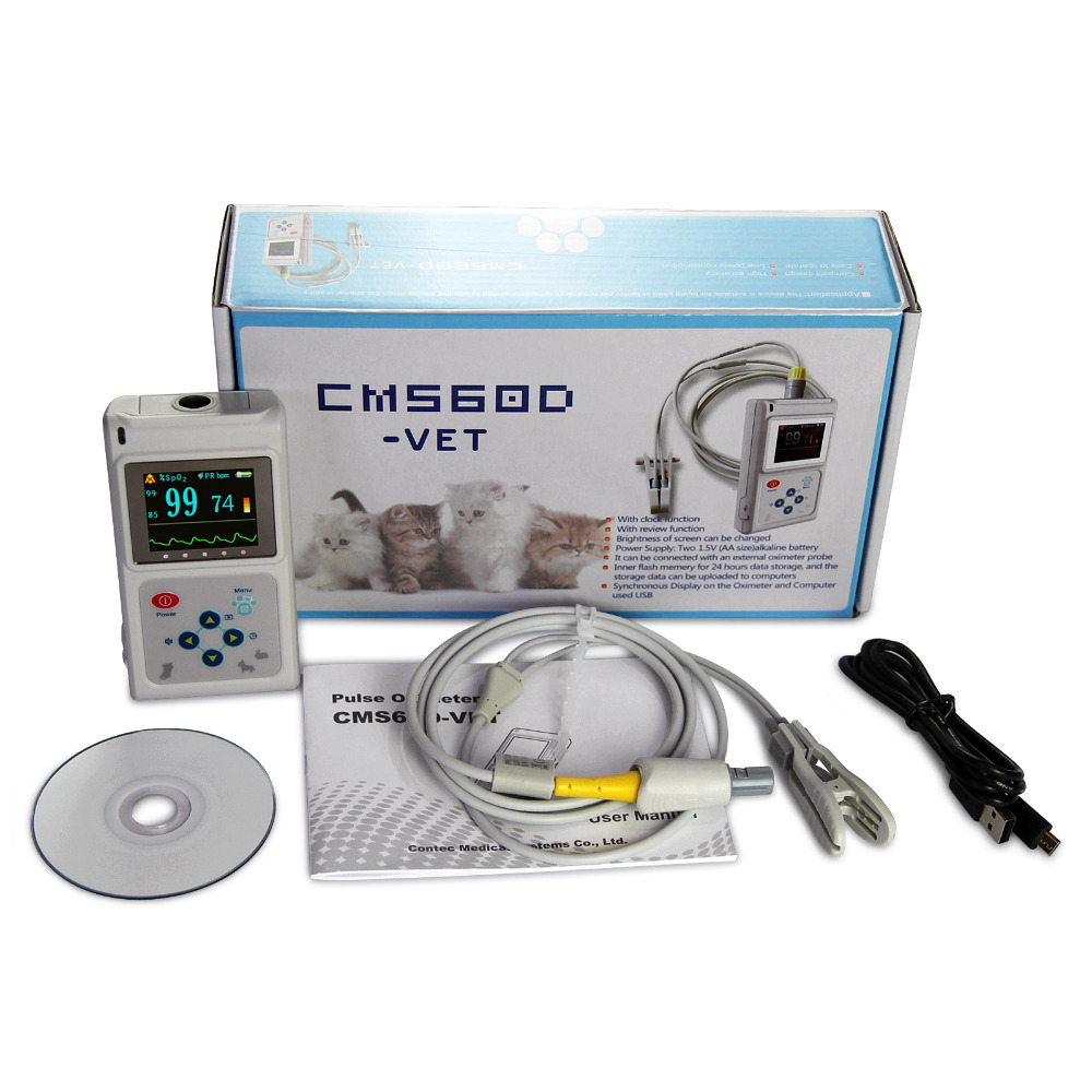 USA &China warehouse Veterinary Pulse Oximeter CMS60D-VET+Tongue SpO2 Probe+PC Software