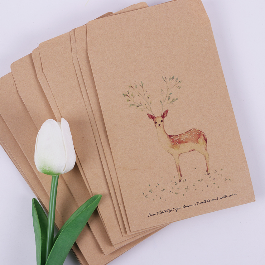 10 PCS DIY Deer Envelope Cute Retro Kraft Paper Envelopes Gift Card Office Stationery Supplier 4 Style Available цены
