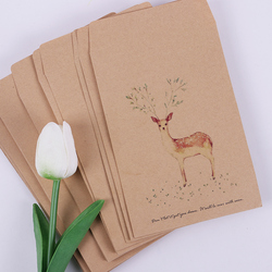 10 PCS DIY Deer Envelope Cute Retro Kraft Paper Envelopes Gift Card Office Stationery Supplier 4 Style Available