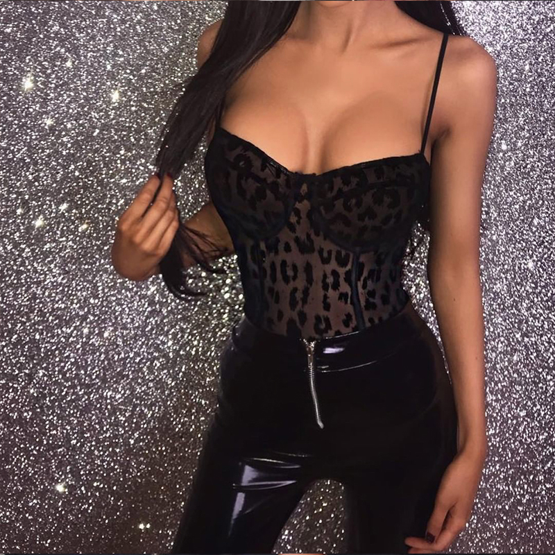 2018 Spring Women Black Bodysuit Sexy Club Summer Party Sleveeless Bodycon Spaghetti Leopard Mesh Strap Bodysuit Women Female