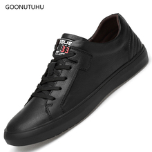 2019 fashion mens vulcanized shoes casual genuine leather cow waterproof black & white shoe man lace-up platform for men