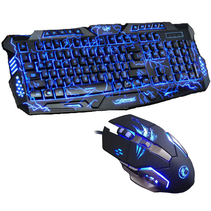 Nouveau Clavier Tri-color Backlight Pro Gamer Clavier de jeu 6 boutons 3200 DPI Mécanique Rétro-éclairage LED Gaming Mouse