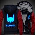Hot Nova Liga Da Justiça Batman Cavaleiro das Trevas Bruce Wayne Night Lights JiaRong Inverno Velo Camisolas Dos Homens Hoodie Do Logotipo