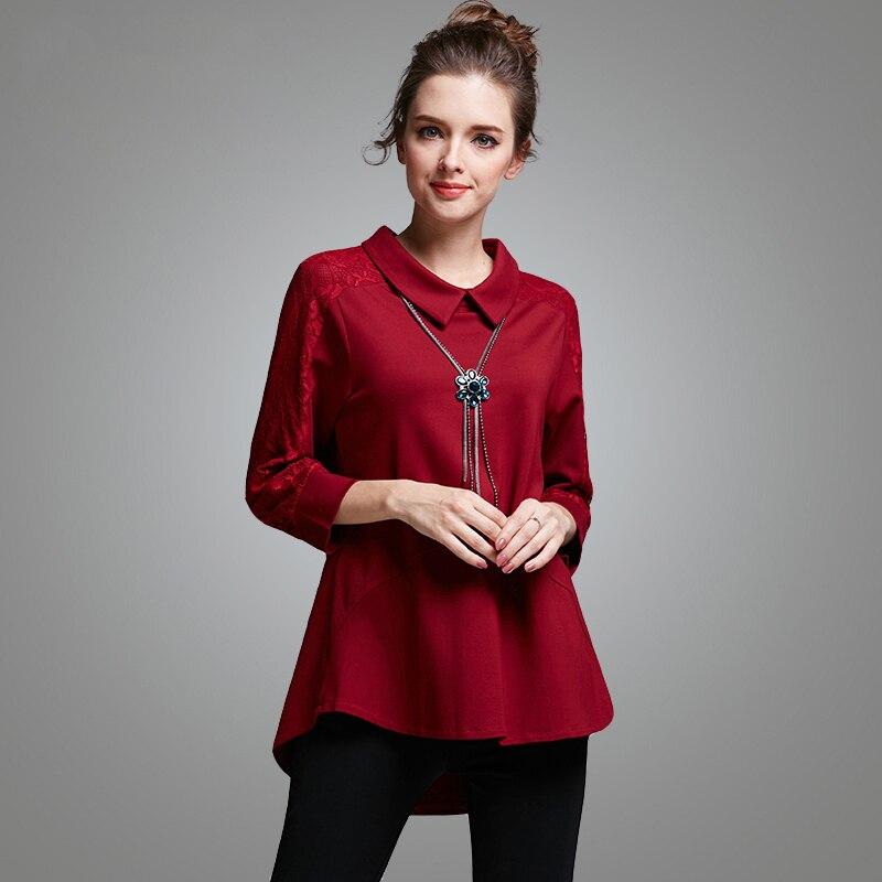 Europe Large Size Shirt Women Tops Camisetas Mujer 2016 Autumn Long Sleeve Red Loose T shirt