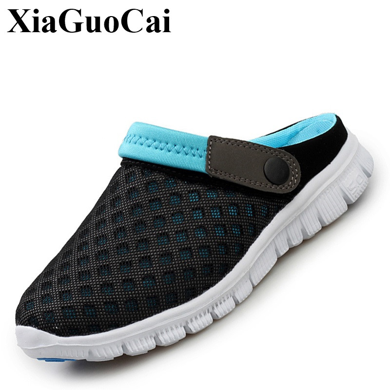 Summer Slippers Shoes Men Shoes Women Mesh Breathable Sandals Flats Slip-on Casual Shoes Antiskid Light Beach Shoes H135 35
