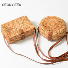 ed16181a11f6 Round Straw Bags for Women 2018 Beach Bag Box Summer Rattan Bolsa Handmade  Woven Bolsos Mujer Bali Bag Circle Bohemia Handbag