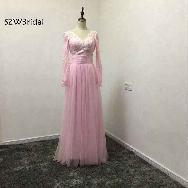 New Arrival Pink Long sleeve   Prom     dresses   2019 Two piece Sexy Open back Vestido de festa A-line vestido de festa curto