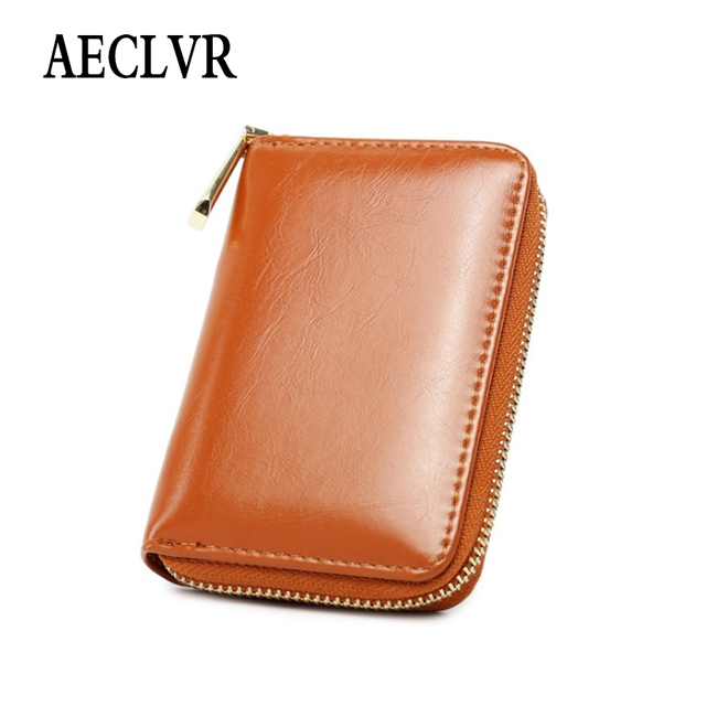 AECLVR Simple Style Women Wallets With Card Holder Solid Color Oil Wax Pu Leather Purse Simple Cute Students Daily Small Bag