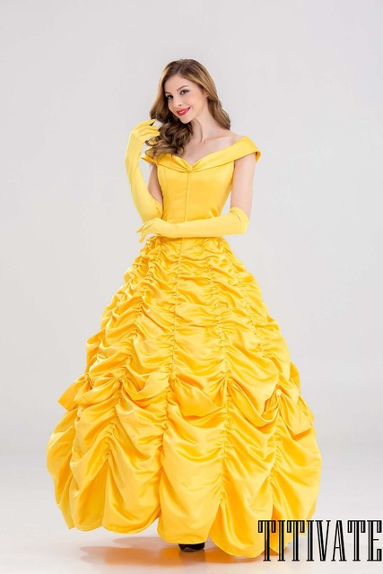High Quality TITIVATE Belle Princess Halloween Costume Women Cosplay Beauty And The  Beast Adult Princess Costume Masquerade Fancy Dress