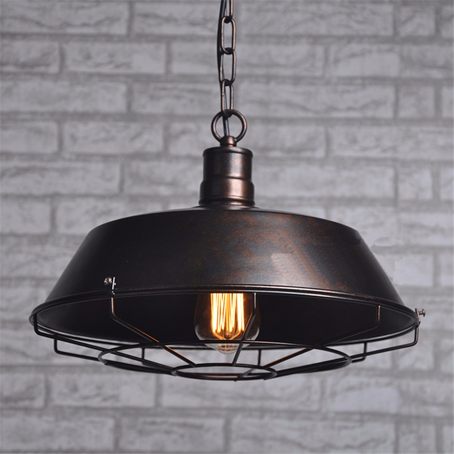 2 colors Black and Rust industrial pendant lamp chandelier home dining room lights ...