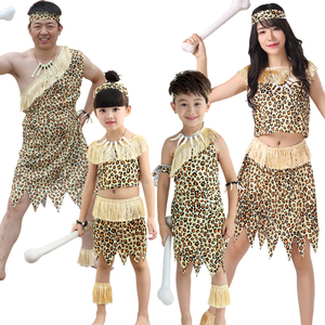 Halloween Kids leopard savage caveman croods flintstones primitive sexy indian clothing costume carnival costumes for men fancy(China)