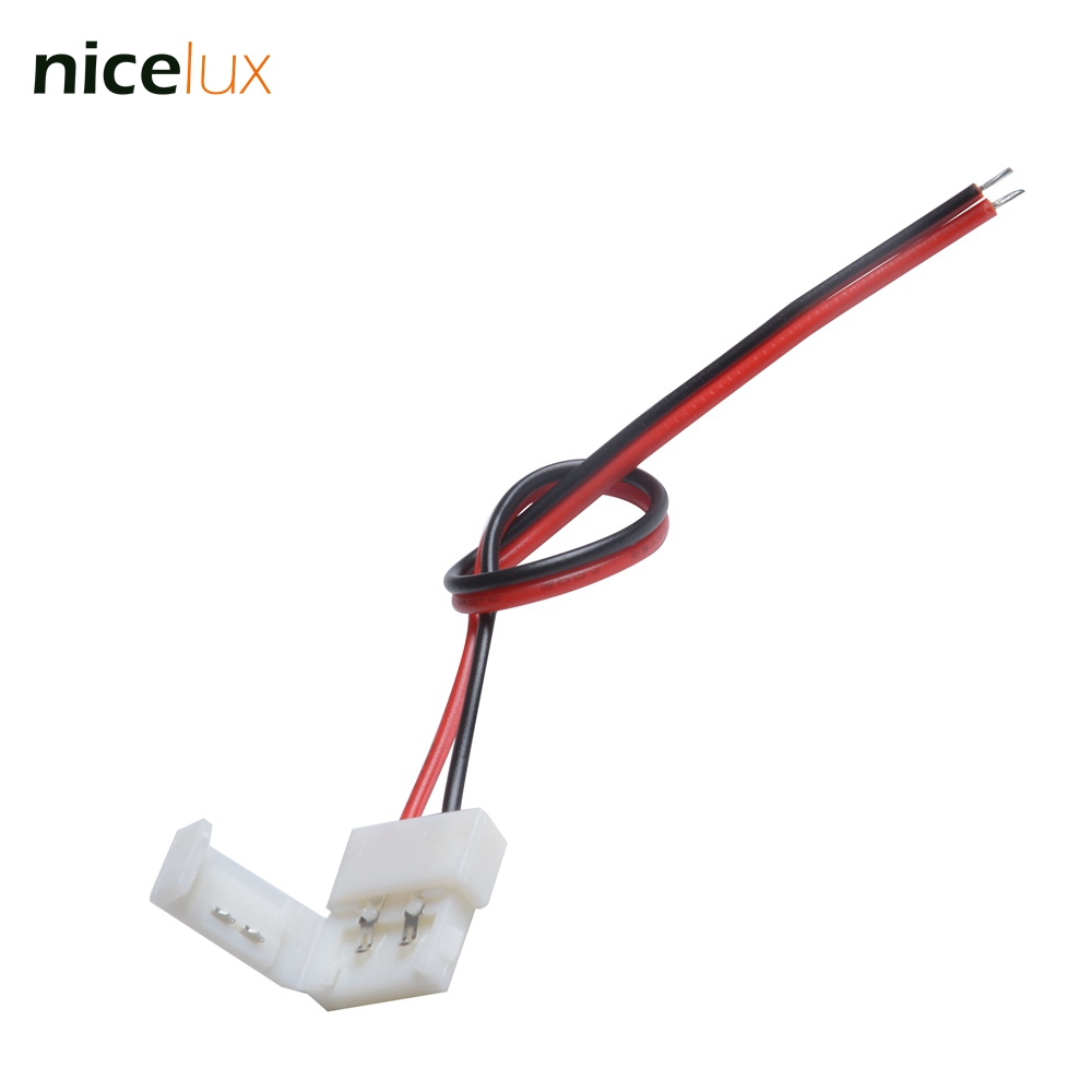 5pcs 10mm single color strip to 15cm Wire connector for 2pin 10mm IP20 5050 led strip connector Free shipping 2pin Conductor dc connector to 2pin 8mm 10mm connector with switch for single color led strip