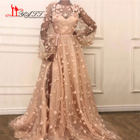 LIYATT Newest Long Sleeves Diamond Flowers Peach Pink 3D Flowers Fashion Sexy Beach Prom Dreses Evening Gowns 2018