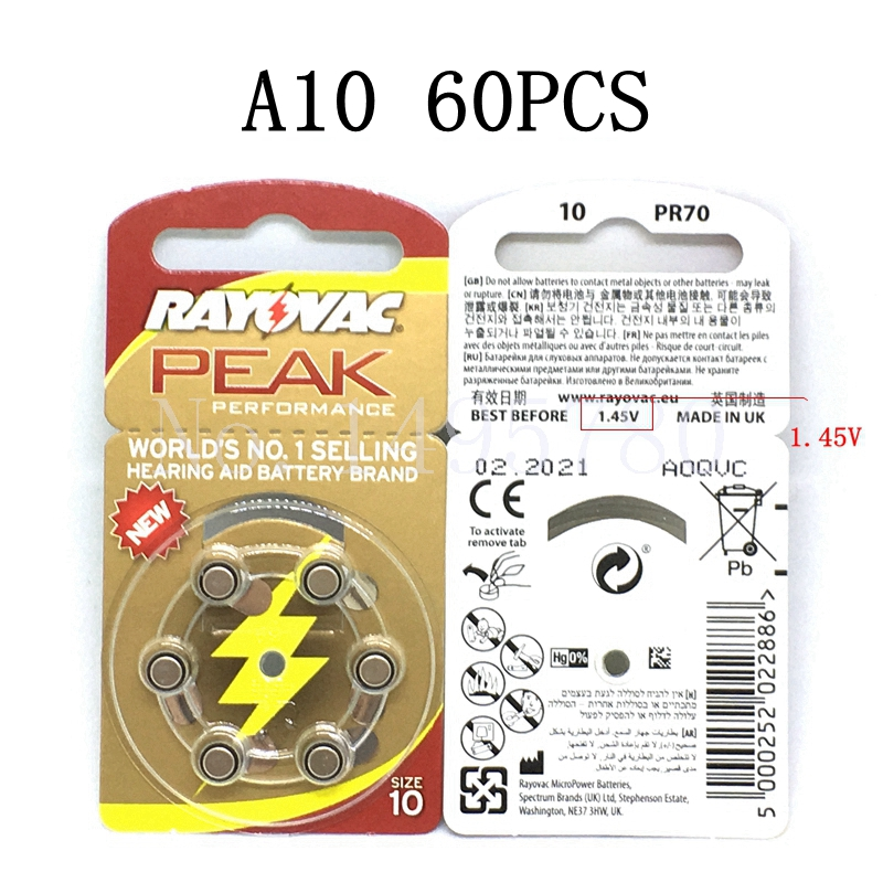 60 Pcs NEW Zinc Air 1.45V Rayovac Peak Zinc Air Hearing Aid Batteries A10 10A ZA10 10 S10 60 PCS Battery