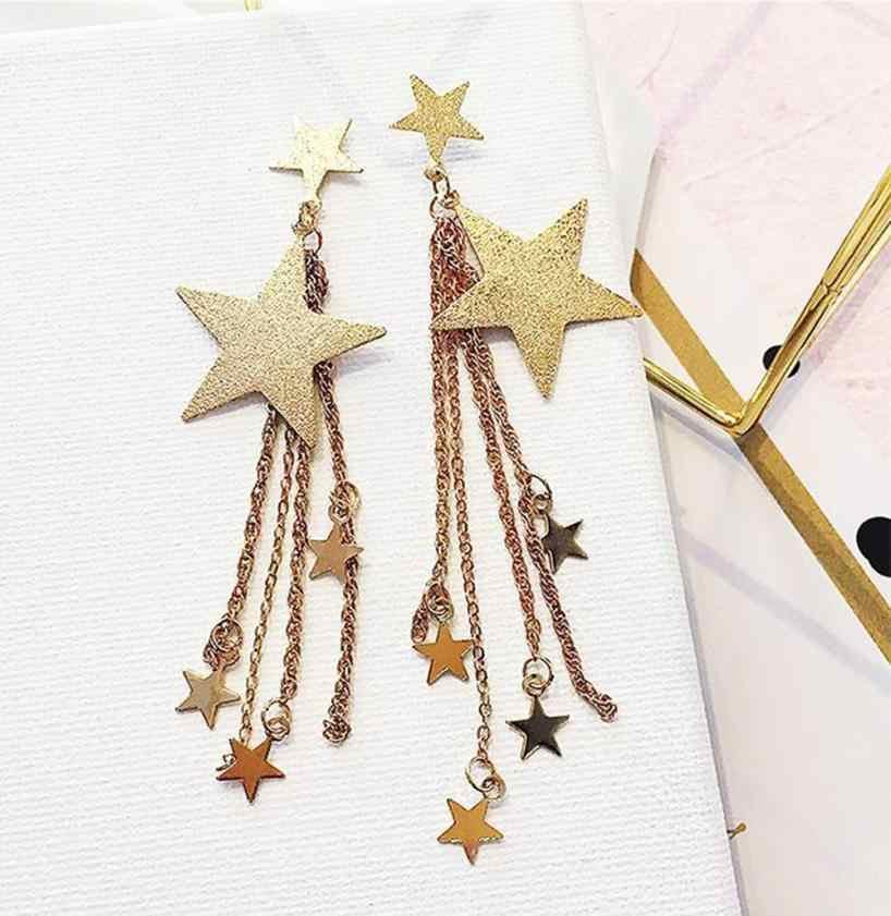 Boucles d'oreilles strass étoile filante chaude longs glands goutte crochet boucles d'oreilles or argent ornements Bijoux fantastiques Oorbellen