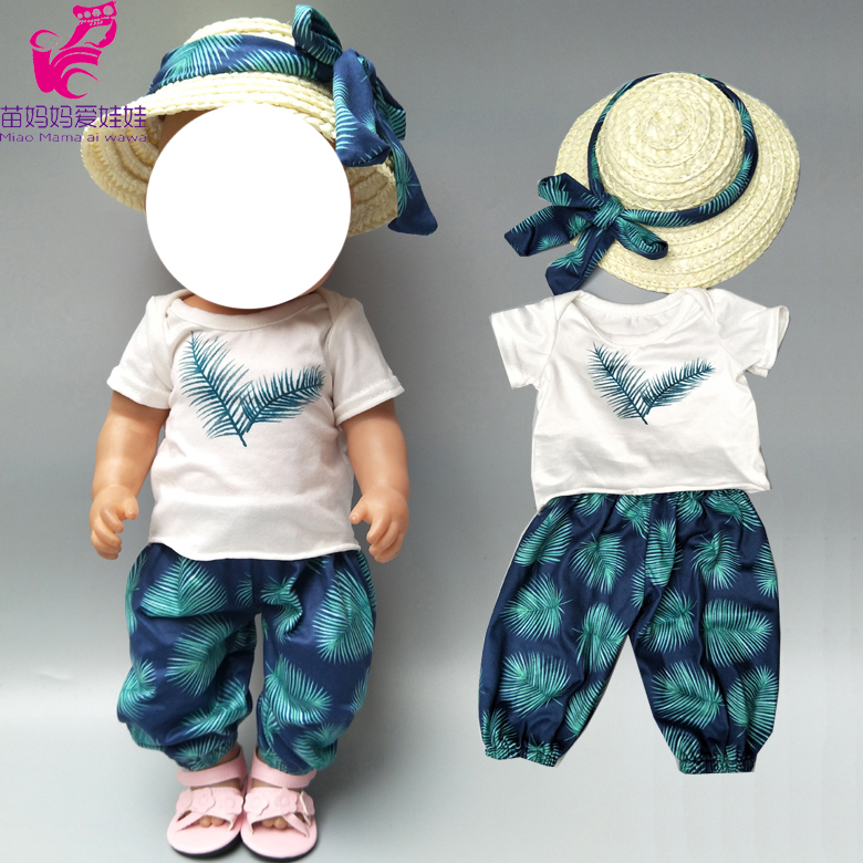 Baby Doll clothes summer holiday Hawaiian Beach Pants hat set  for 18 inch girl doll holiday clothes t-shirt pants set winnie the pooh iphone case