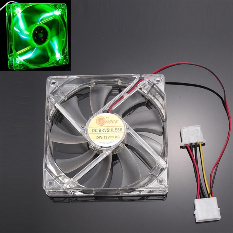 Reliable 2017 hot Green Quad 4-LED Light Neon Clear 120mm PC Computer Case Cooling Fan Mod reliable dropshipping do csv quiet 120mm dc 12v 3 4pin led effects clear computer case fan for radiator mod