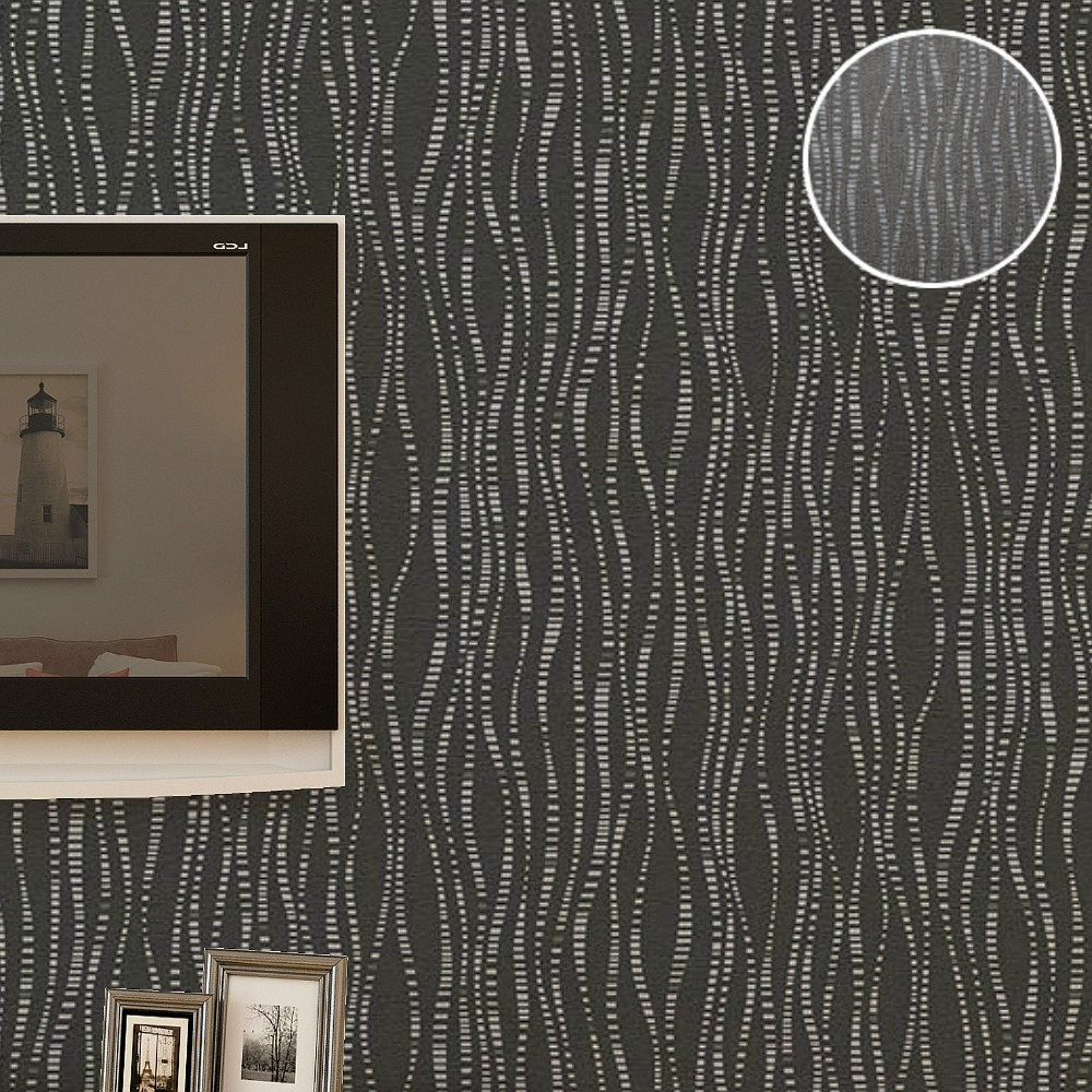 Textured Wallpaper For Bathrooms 2017: Textured Plain Charcoal Striped Wallpaper Roll Vinyl
