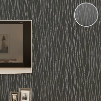 Textured Plain Charcoal Striped Wallpaper Roll Vinyl Waterproof Wall Paper For Bathrooms 10M Roll
