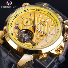 Forsining Full Golden Tourbillon Men Mechanical Watch Grand Automatic Date Multifunction Genuine Leather Male Dress Reloj Hombre