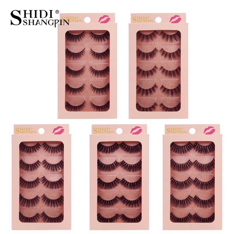 SHIDISHANGPIN 5 pairs 3d mink lashes hand made makeup false eyelash natural long false eyelashes 1 box makeup full strip lashes