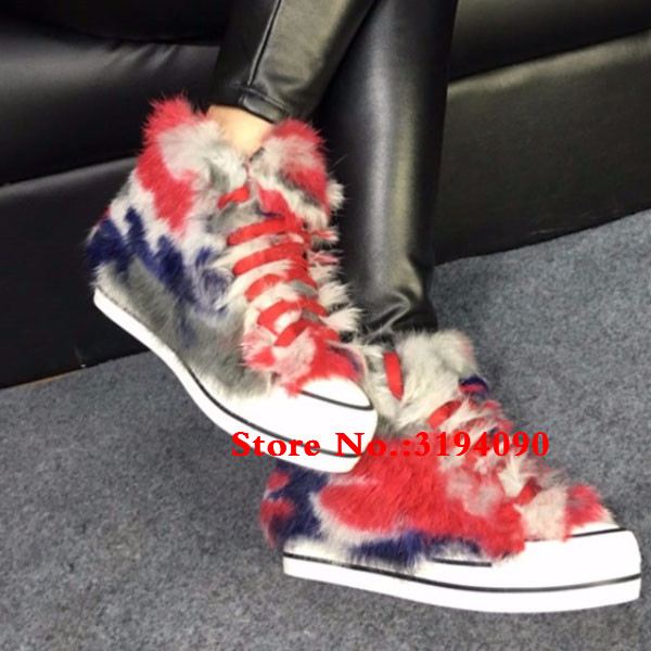 New Female Winter Warm Women Booties Rabbit Hair Height Increasing Platform Lace Up High Top Mixed Color Ankle Boots Shoes WomanNew Female Winter Warm Women Booties Rabbit Hair Height Increasing Platform Lace Up High Top Mixed Color Ankle Boots Shoes Woman