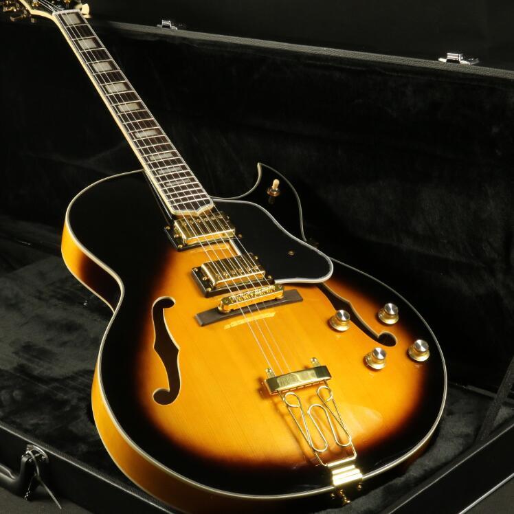 Haute qualité corps creux personnalisé guitare électrique noir Grover Tuner or matériel Sunburst