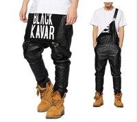 2015 New Arrival Man Women Mens Hiphop Hip Hop Swag Black Leather Overalls Pants Jogger Urban