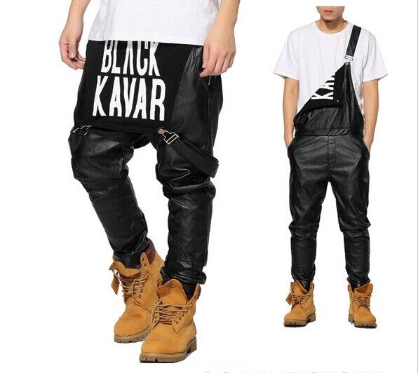 Nuovo Arrivo Delle Donne di Moda Uomo Mens Hiphop Hip Hop Refurtiva Tuta Pantaloni Jogger Vestiti Urbani Vestiti Justin Bieber In Pelle Nera