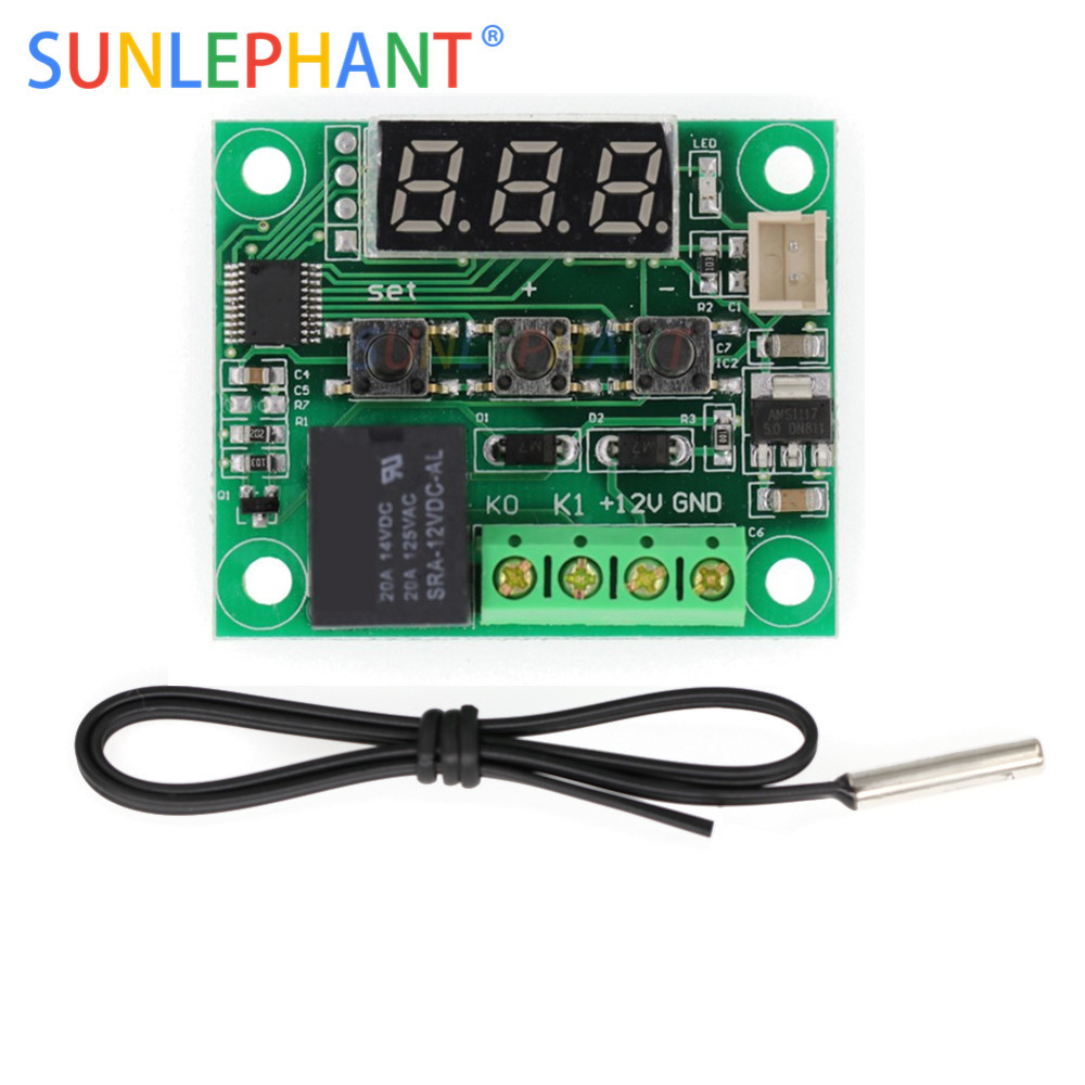 <font><b>W1209</b></font> <font><b>DC</b></font> 12 v LED Digitale Thermostat Temperatur Control Thermometer Thermo Controller Schalter Modul + NTC Sensor image