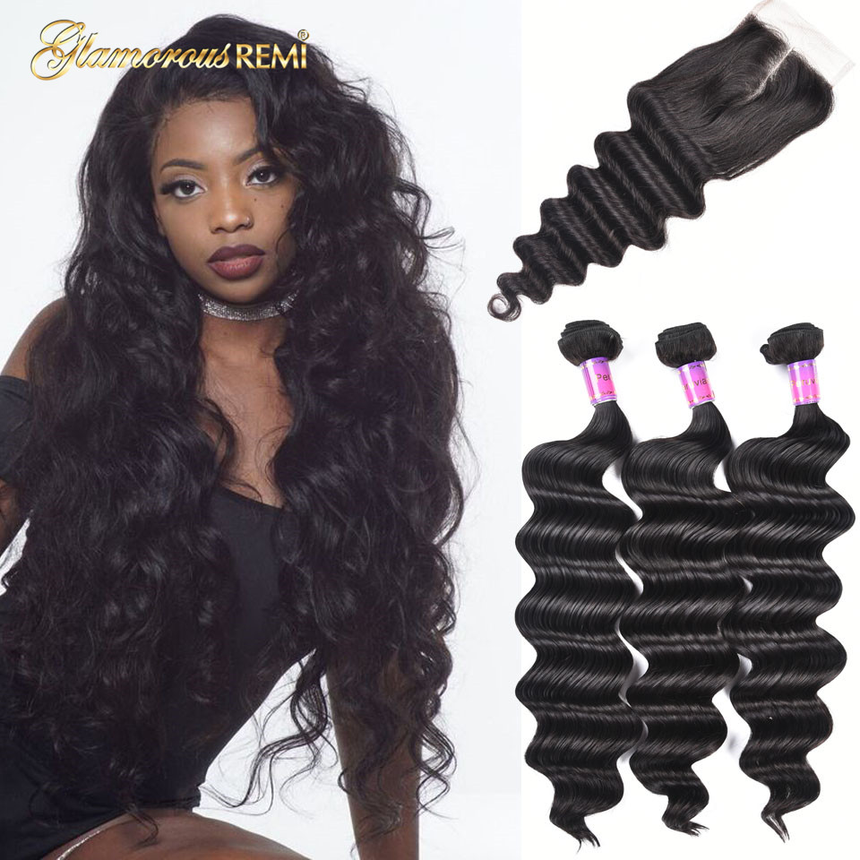 Peruvian Loose Deep Hair Weaves 3 Bundle With Closure Natural Color Loose Curly Ocean Wave Human Hair Free Middle 3 Part Closure Fine Craftsmanship 3/4 Bundles With Closure