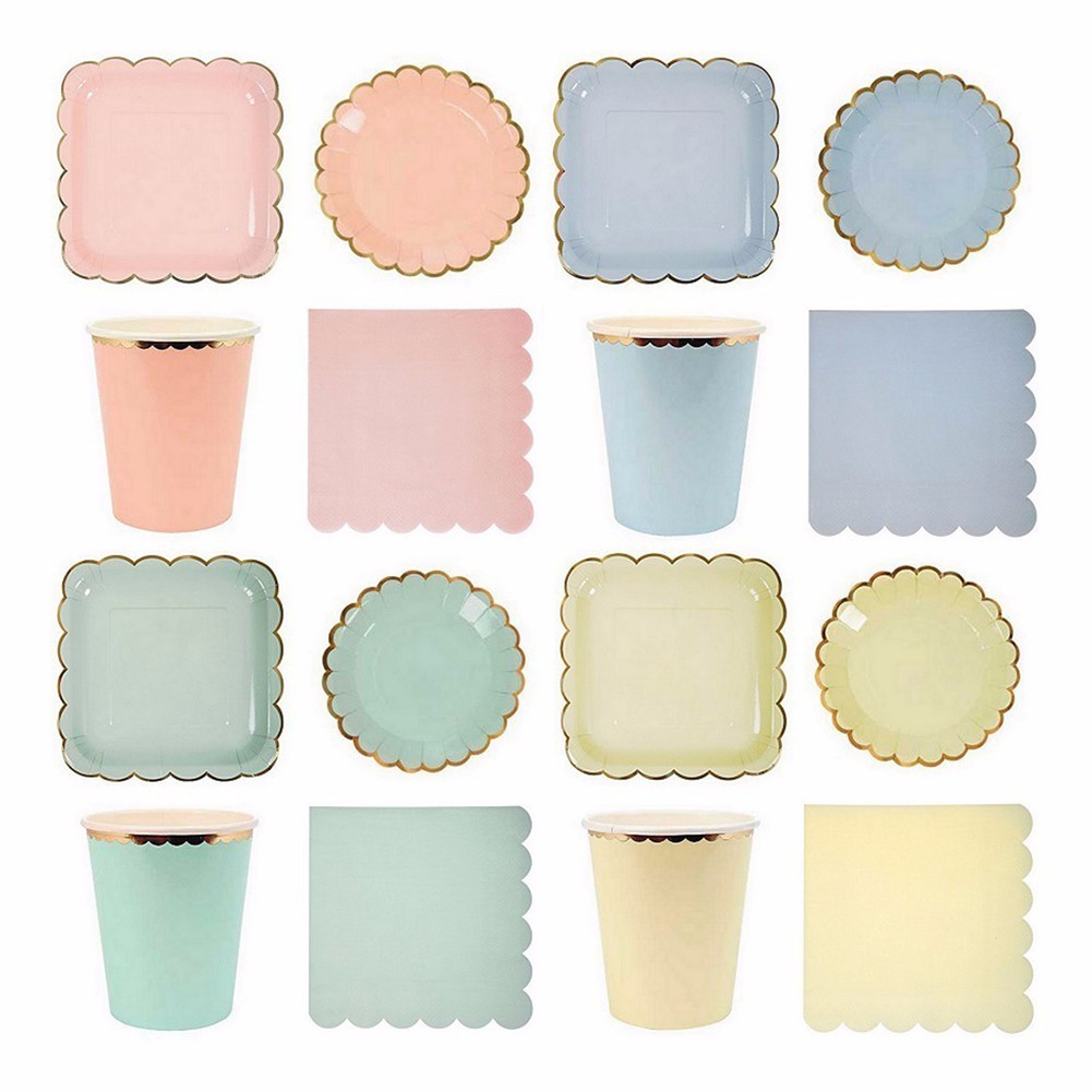 44Pcs/Set Paper Plates Napkins Cups Party Disposable Tableware Metallic Solid Color Theme Party Wedding Christmas Supplies-in Disposable Party Tableware ...  sc 1 st  AliExpress.com & 44Pcs/Set Paper Plates Napkins Cups Party Disposable Tableware ...