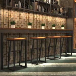 Nueva silla de Bar Retro de hierro forjado/taburete de madera sólida taburete creativo taburete alto Silla de Bar para descanso silla delantera Silla de café