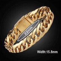 جديد ماركة فاخرة رابط سلسلة رجال سوار الرجال أبدا تتلاشى الذهب أساور أساور الفولاذ الصلب الذكور المجوهرات هدية
