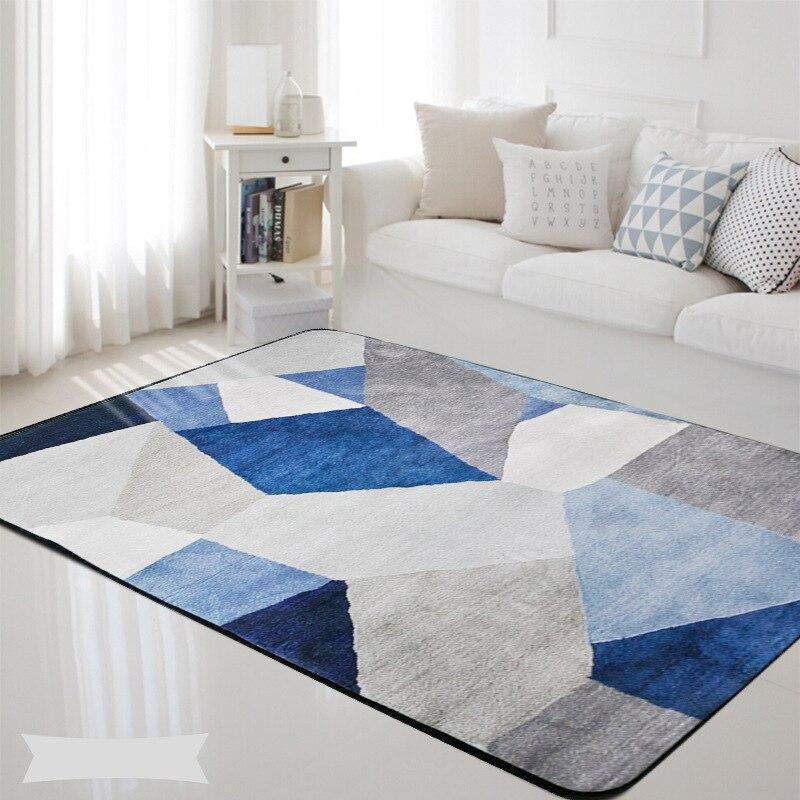 Géométrique nordique bleu gris imprimé Rectangle tapis tapis salon chambre Tapete antidérapant enfants doux jeu tapis de sol