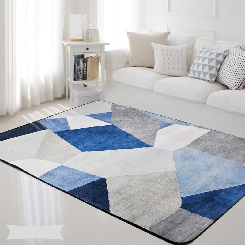 Geometric Nordic Blue Grey Printed Rectangle Carpet Rugs Living Room Bedroom Tapete Non-Slip Children Kids Soft Play Floor Mats