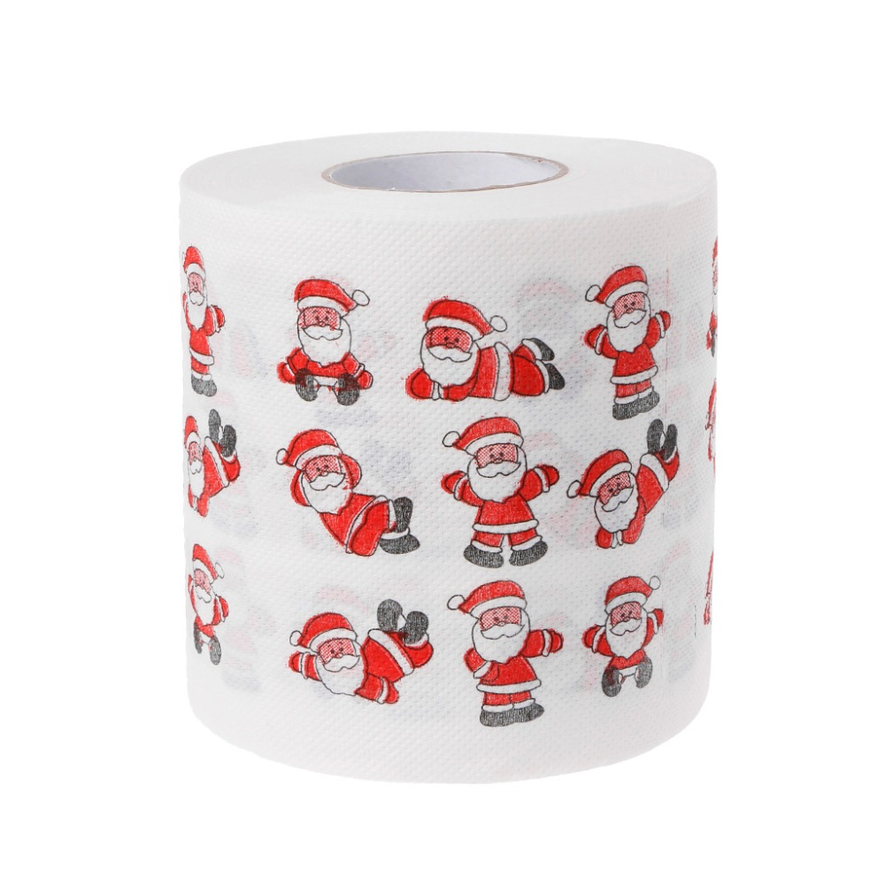 2 Layers Christmas Santa Claus Toilet Roll Paper Tissue Living Room Table Decor  240 Leaves Santa Claus Pattern