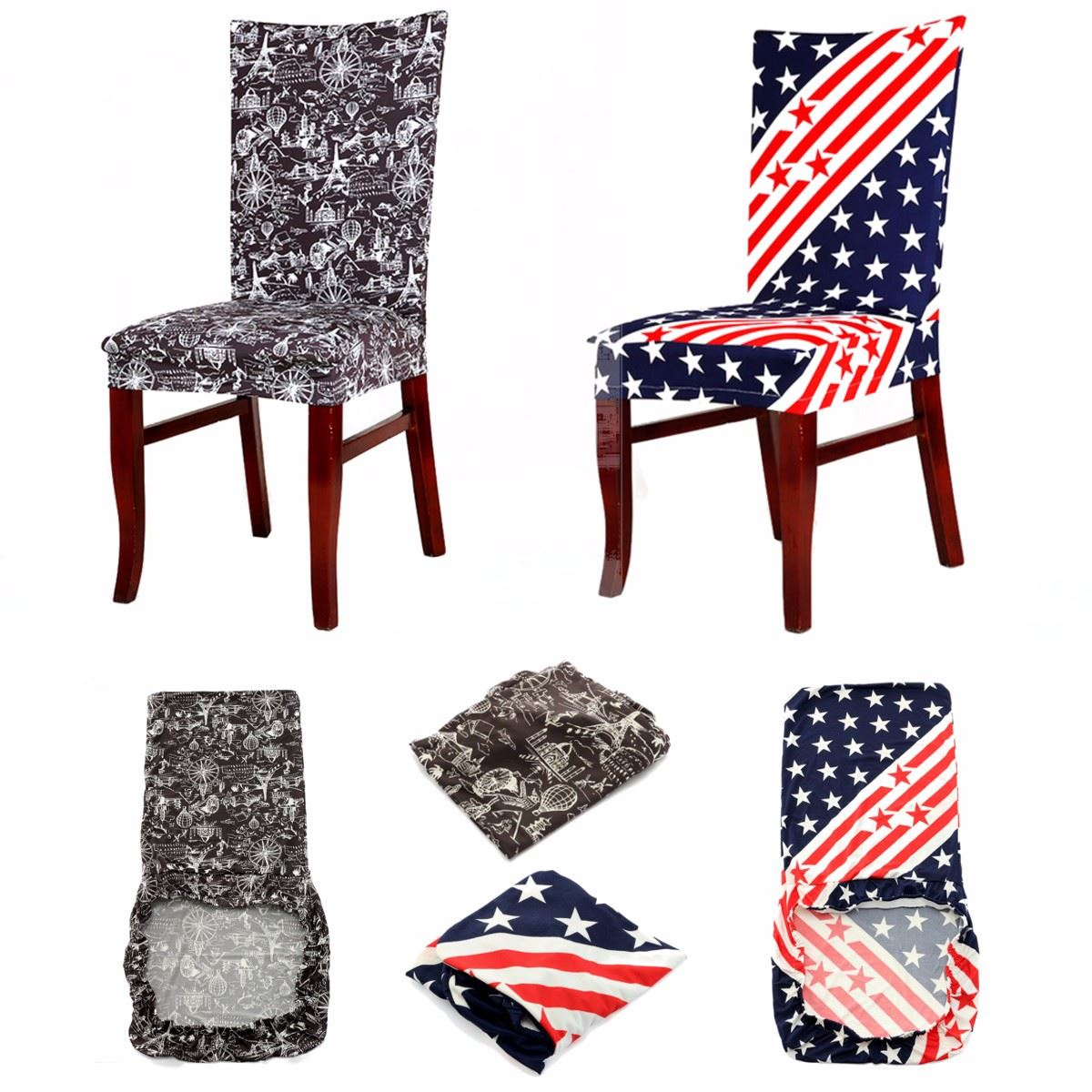 Seat Chair Cover Removable Stretch Slipcovers Stars Dining Room Stool For Home Restaurant Weddings Banquet